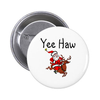 Yee Haw Cowboy Santa Claus 6 Cm Round Badge
