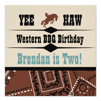 Yee Haw Cowgirl Cowboy Western Birthday Invite