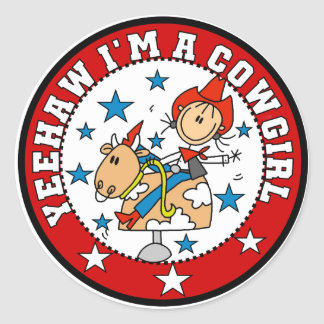 Yee Haw Cowgirl Tshirts and Gifts Round Sticker