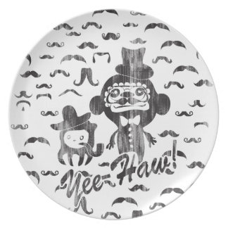 Yee- Haw Goofy Characters with mustaches art. Plate