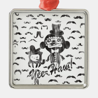 Yee- Haw Goofy Characters with mustaches art. Silver-Colored Square Decoration
