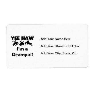 Yee Haw I'm a Grampa T-shirts and Gifts Shipping Label