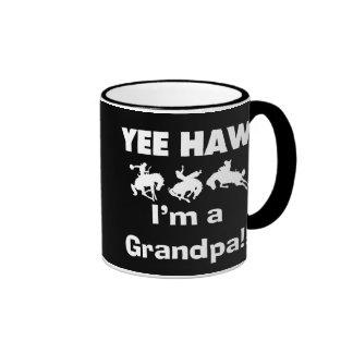 Yee Haw I'm a Grandpa T-shirts and Gifts Ringer Mug
