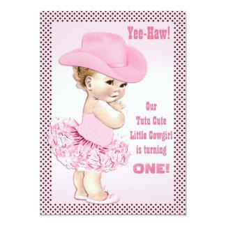 Yee-Haw! Tutu Cute Little Cowgirl Baby Birthday 13 Cm X 18 Cm Invitation Card