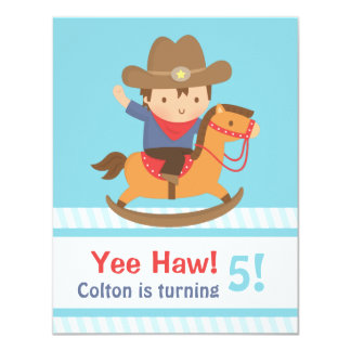 Yee Haw Western Cowboy Kids Birthday Party Card