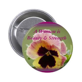 Yel-Pk Pansy Button Pin - customize