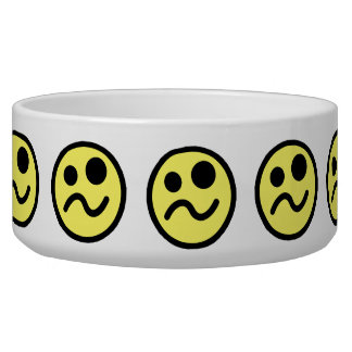 Yelllow Confused Smiley Face Dog Food Bowls