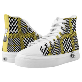 Yello & Black Llama Zipz High Top Shoes Printed Shoes