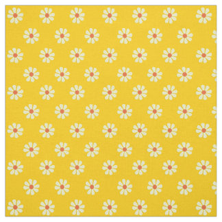 Yellow 1960's Retro Flower Power 56 W Combed Cotto Fabric