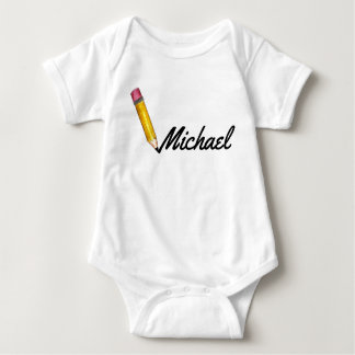 Yellow #2 School Pencil Writing Personalized Name Baby Bodysuit