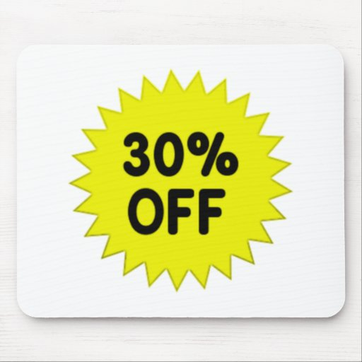 Yellow 30 Percent Off Mouse Pad