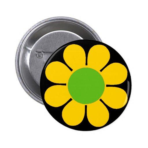 Yellow 60's Flower Power Pin