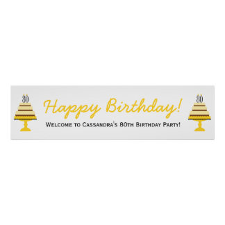 Yellow 80th Birthday Cake Party Banner Poster