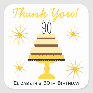 Yellow 90th Birthday Cake Favor Stickers