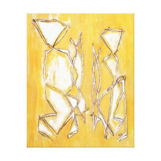 Yellow Abstract Art Couple Painting by MC Belkadi Canvas Print
