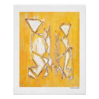 Yellow Abstract Couple Home Decor 16x20 posters