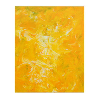 Yellow Abstract Expressionist Acrylic Print