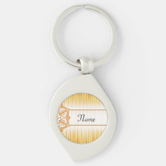 Yellow Abstract Flower Silver-Colored Swirl Key Ring
