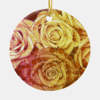 Yellow Abstract Roses Round Ceramic Decoration