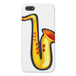 Yellow abstract sax graphic facing right saxophone iPhone 5/5S cover