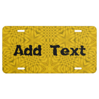 Yellow abstract wood license plate