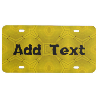 Yellow abstract wood Pattern License Plate