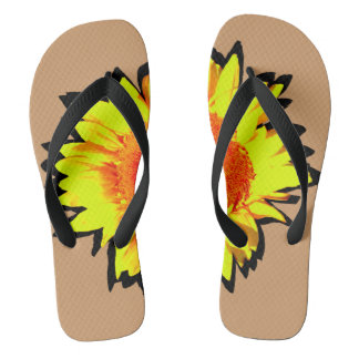 Yellow Accented Sunflower Thongs