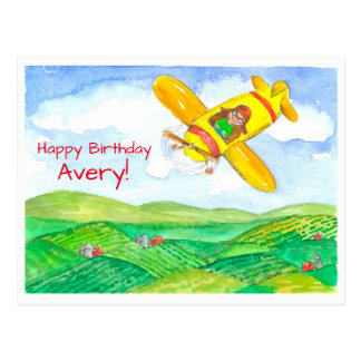 Yellow Airplane Happy Birthday Custom Name Postcard