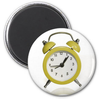 Yellow alarm clock 6 cm round magnet