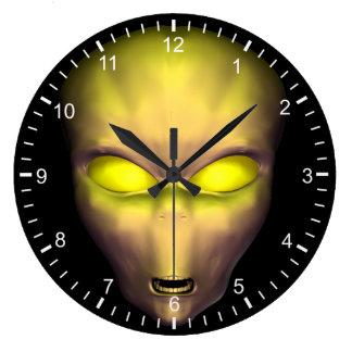 Yellow Alien Face Large Clock