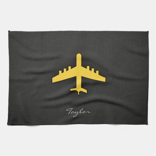 Yellow Amber Airplane Hand Towels