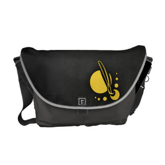 Yellow Amber Artist Paintbrush Courier Bag