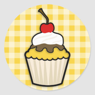 Yellow Amber Cupcake Round Sticker