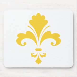 Yellow Amber Fleur de lis Mouse Pad