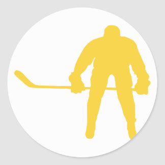 Yellow Amber Hockey Round Sticker
