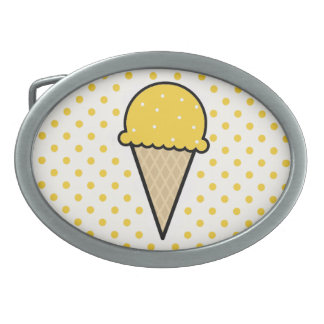 Yellow Amber Ice Cream Cone Belt Buckles