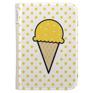 Yellow Amber Ice Cream Cone Kindle Folio Cases