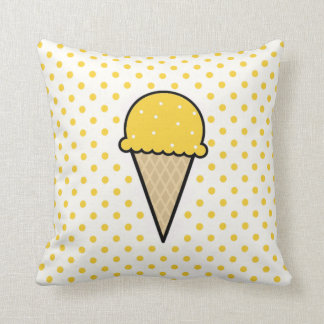 Yellow Amber Ice Cream Cone Pillow