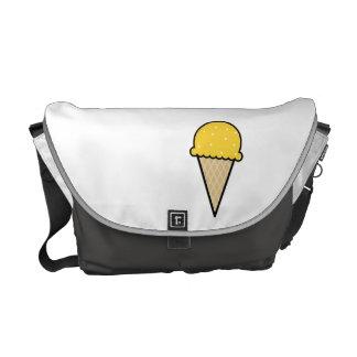 Yellow Amber Ice Cream Cone Messenger Bag