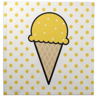 Yellow Amber Ice Cream Cone Printed Napkin
