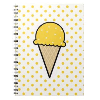 Yellow Amber Ice Cream Cone Notebooks