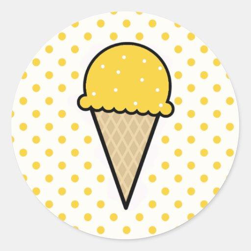 Yellow Amber Ice Cream Cone Round Stickers