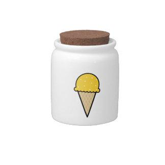 Yellow Amber Ice Cream Cone Candy Jars