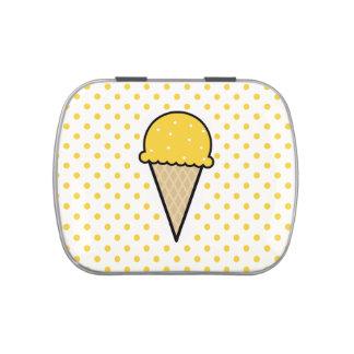 Yellow Amber Ice Cream Cone Candy Tin