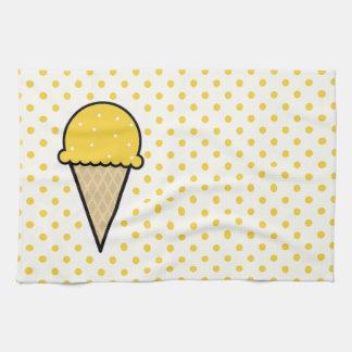 Yellow Amber Ice Cream Cone Hand Towels