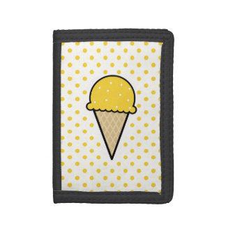 Yellow Amber Ice Cream Cone Tri-fold Wallets