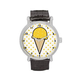Yellow Amber Ice Cream Cone Watches