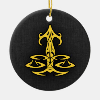 Yellow Amber Libra Double-Sided Ceramic Round Christmas Ornament