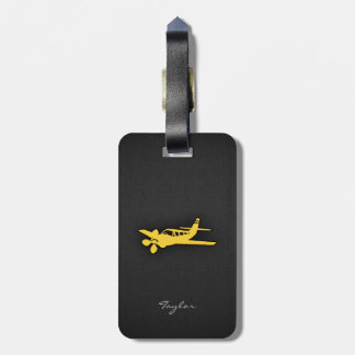 Yellow Amber Plane Luggage Tag