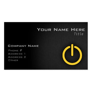 Yellow Amber Power Button Pack Of Standard Business Cards